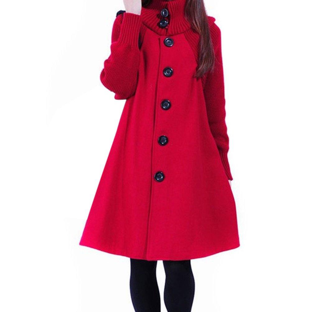 Hee Grand Women Cloak Style Wool Overcoat
