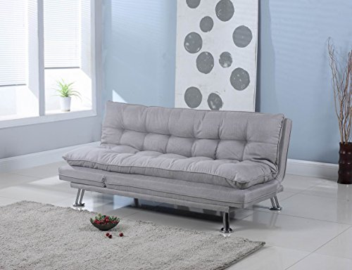 Light Grey Linen Upholstered Futon Sofa Lounger Sofa Bed by Coaster by Home Life s208grey