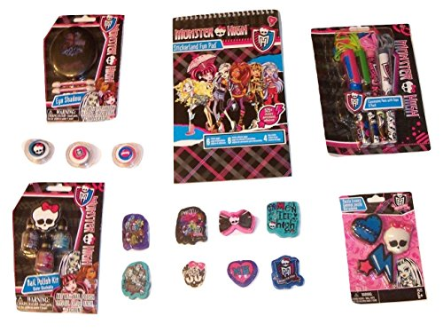 High Monster Nail (Monster High Activity Gift Set ~ Brainy Chicks Rule (Stickerland Fun Pad, Clawesome Pens with Rope, Eraser 8 Pack, Eye Shadow, Healing Heart Eraser Set, Nail Polish Kit, Lip Kit; 7 Items, 1 Bundle))