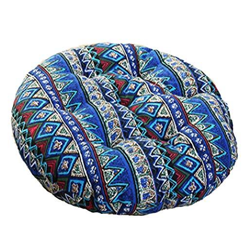 MeMoreCool Bohemia Simple Round Floor Cushion, Futon Round Seat Cushion Window Pad Chair Cushion Sofa Pillow 16 inches, Blue Set of 2