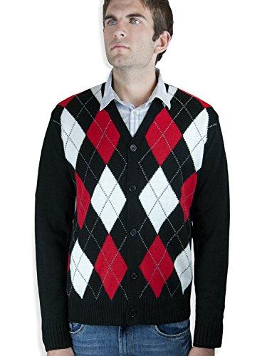 - Blue Ocean Argyle Cardigan Sweater-X-Large