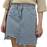 NENGWENWU Women Denim Short Skirts Summer New Asymmetrical Mini Skirts Casual Slim Jeans Light Blue Solid
