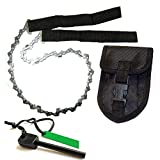 HFB2401 High Qulity Portable 24-Inch Stainless Steel Survival Pocket Chain Saw With Pouch & FREE Fire Starter (black)