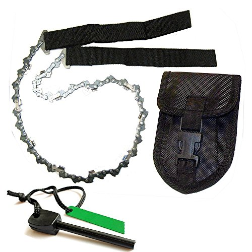 HFB2401 High Qulity Portable 24 Inch Stainless Steel Survival Pocket Chain Saw With Pouch & FREE Fire Starter (black)