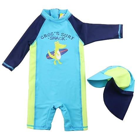 Niños Bañador Trajes de Baño Muchachos Traje de Buceo una pieza Protección UV Ropa de Natación y Gorra de Natación