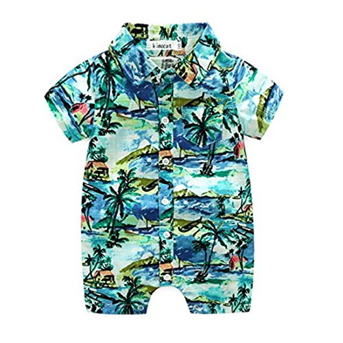 (Neal LINK Newborn Toddler Baby Boys Onesie Polyester Casual Hawaiian Shirt Romper Outfits Floral Hawaiian Style (Green, 6-12)