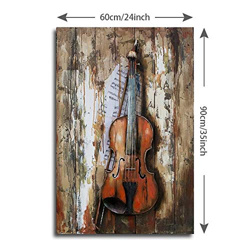 Violin Wall Decor, Metal Guitar, Violin Gift, Ukulele, 3D Wooden Metal Violin, Fiddle Instrument Rack, Wall Art Hanging by Sigma Decor