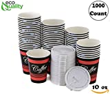 EcoQuality Durable Disposable Paper Hot Cups & White Lids For Hot/Cold Drink, Coffee, Tea, Cocoa, Travel, Small 10 Ounce Cups, 1000 Count Cups & Lids