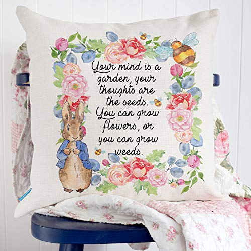 Dozili Peter Rabbit Cushion Cover New Home Beatrix Potter Style Quote Floral Pretty Gift