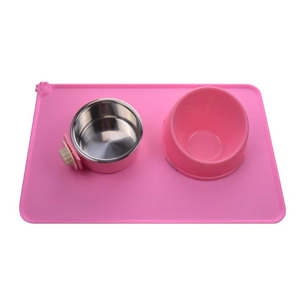 Dog Food Mat,Silicone Pet Feeding Mats,Non Slip Waterproof Cat Bowl Trays Food Container Placemat for Small Animals (18.5\