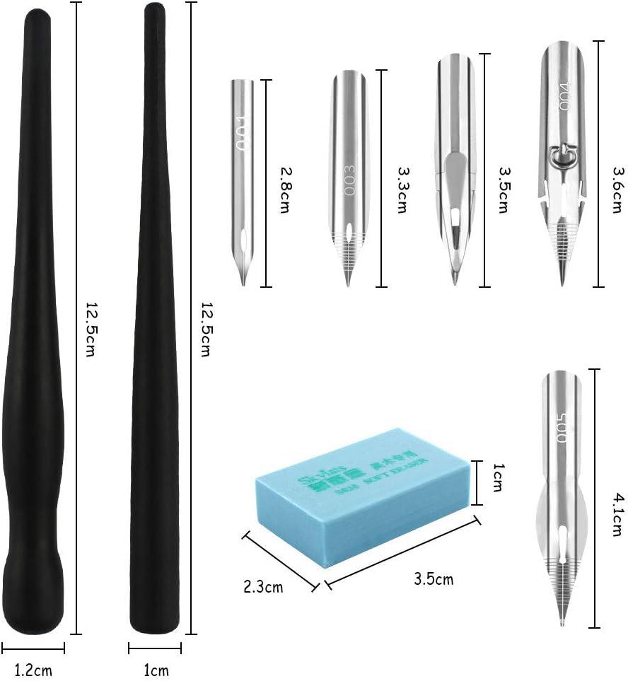 Huayue 2 Sets Comic Drawing Painting Tools Kit 10 Nib 2 Drawing Eraser for DIY Craft Drawing Sketching Mapping,Black Calligraphy Pen Nib Pens Manga Painting Kit 4 Dip Pen Holder