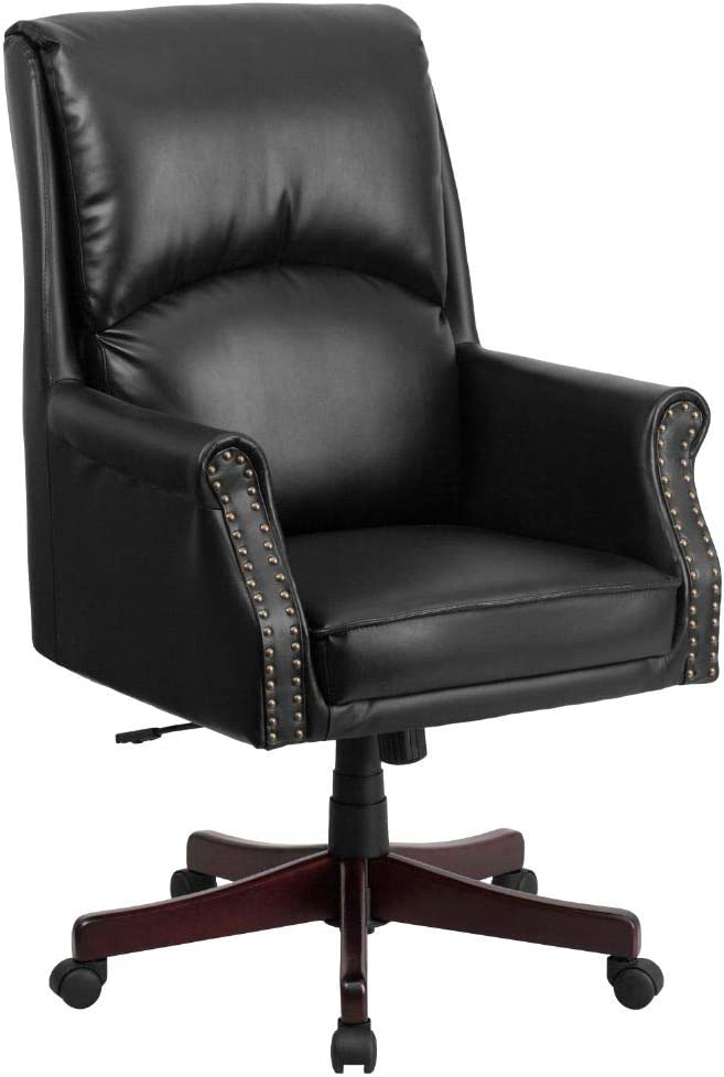 Flash Furniture High Back Pillow Back Black LeatherSoft Executive Swivel Office Chair with Arms