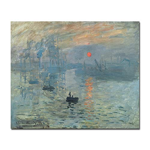 Wieco Art Impression Sunrise Canvas Prints Wall Art of Claude Monet Classic Oil Paintings Reproduction Seascape Ocean Sea Beach Picture for Living Room Home Decor Modern Gallery Wrapped Giclee Artwork