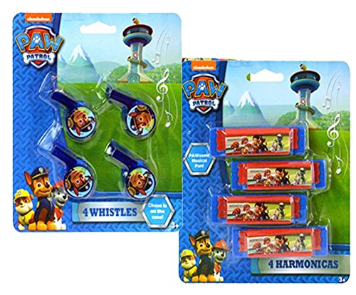 Nickelodeon Paw Patrol Musical Party Favor/Goody Bag Set! Includes 4 Mini Harmonicas & 4 Whistles!