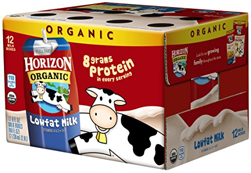 Horizon Organic, Low Fat Organic Milk Box, Plain, 8 Ounce (Pack of 12)
