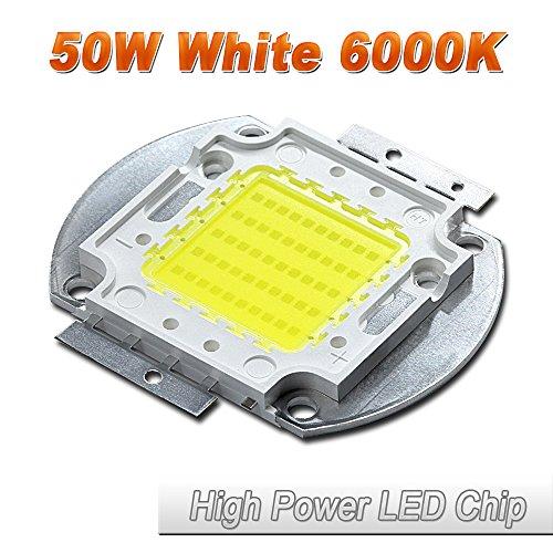 Hontiey High Power LED Chip 50W Pure White Light 6000K-6500K Bulbs 50 Watt Beads DIY Spotlights Floodlight COB Integration Lamp SMD