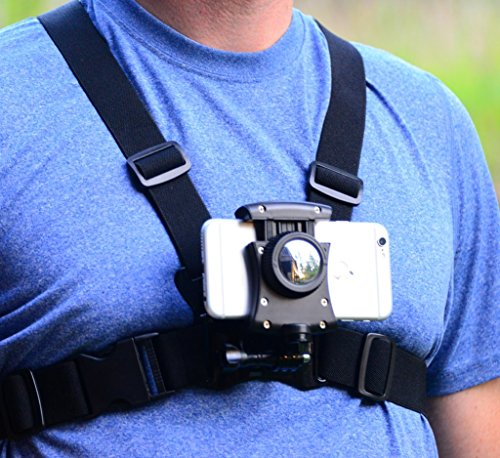 - Pixlplay - Smartphone Chest Mount - Universal Holder Compatible with iPhone and Samsung Phone Mount for Filming or Photos