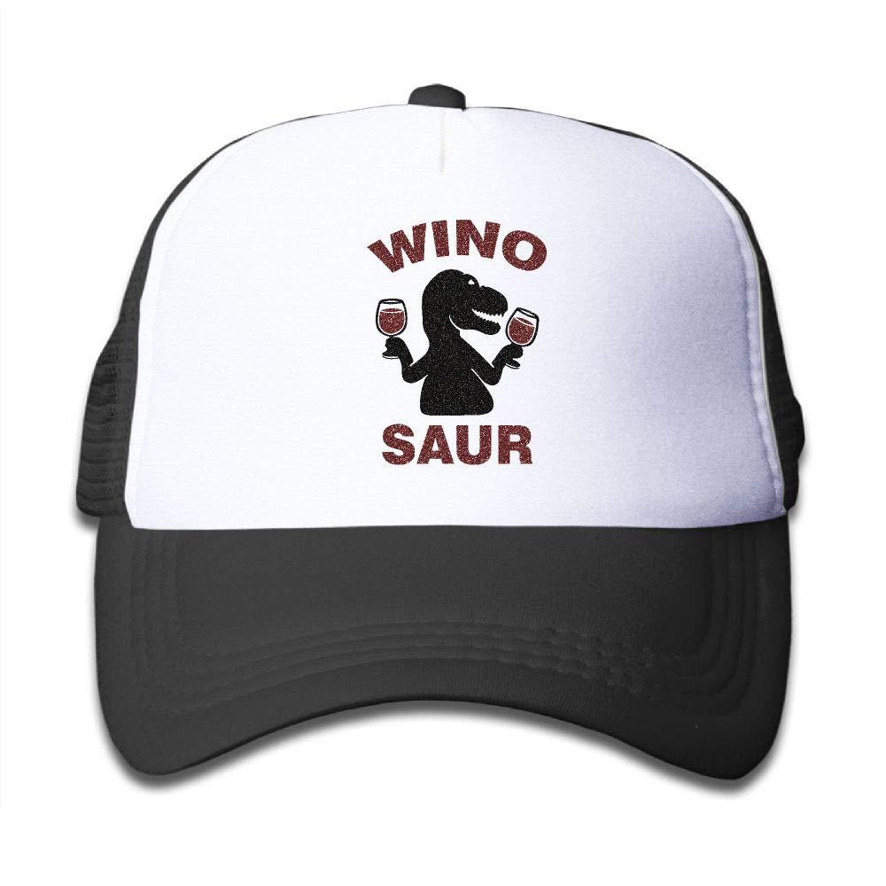 NO4LRM Kid's Boys Girls Winosaur Wine Youth Mesh Baseball Cap Summer Adjustable Trucker Hat