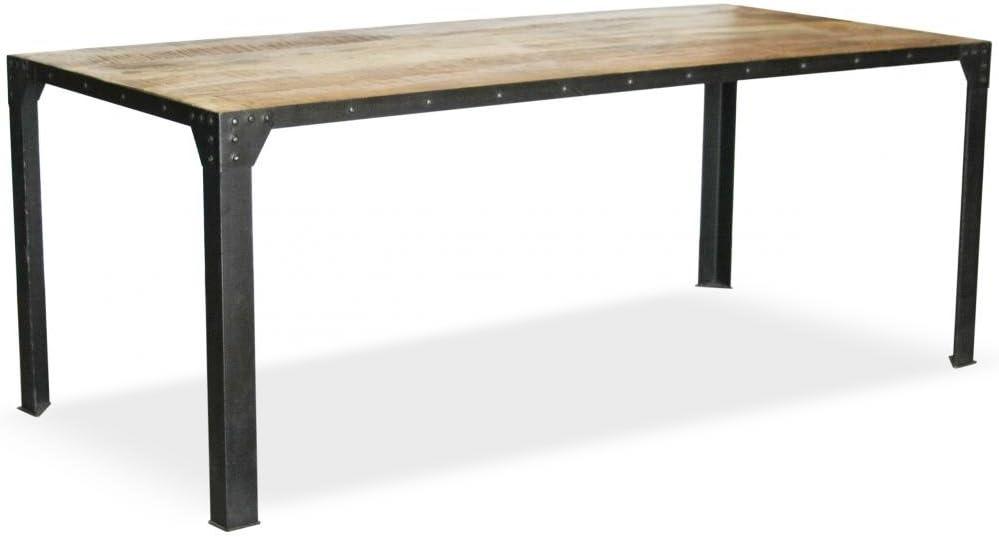 Mesa de Comedor Industrial Vintage - Madera y Acero: Amazon.es: Hogar