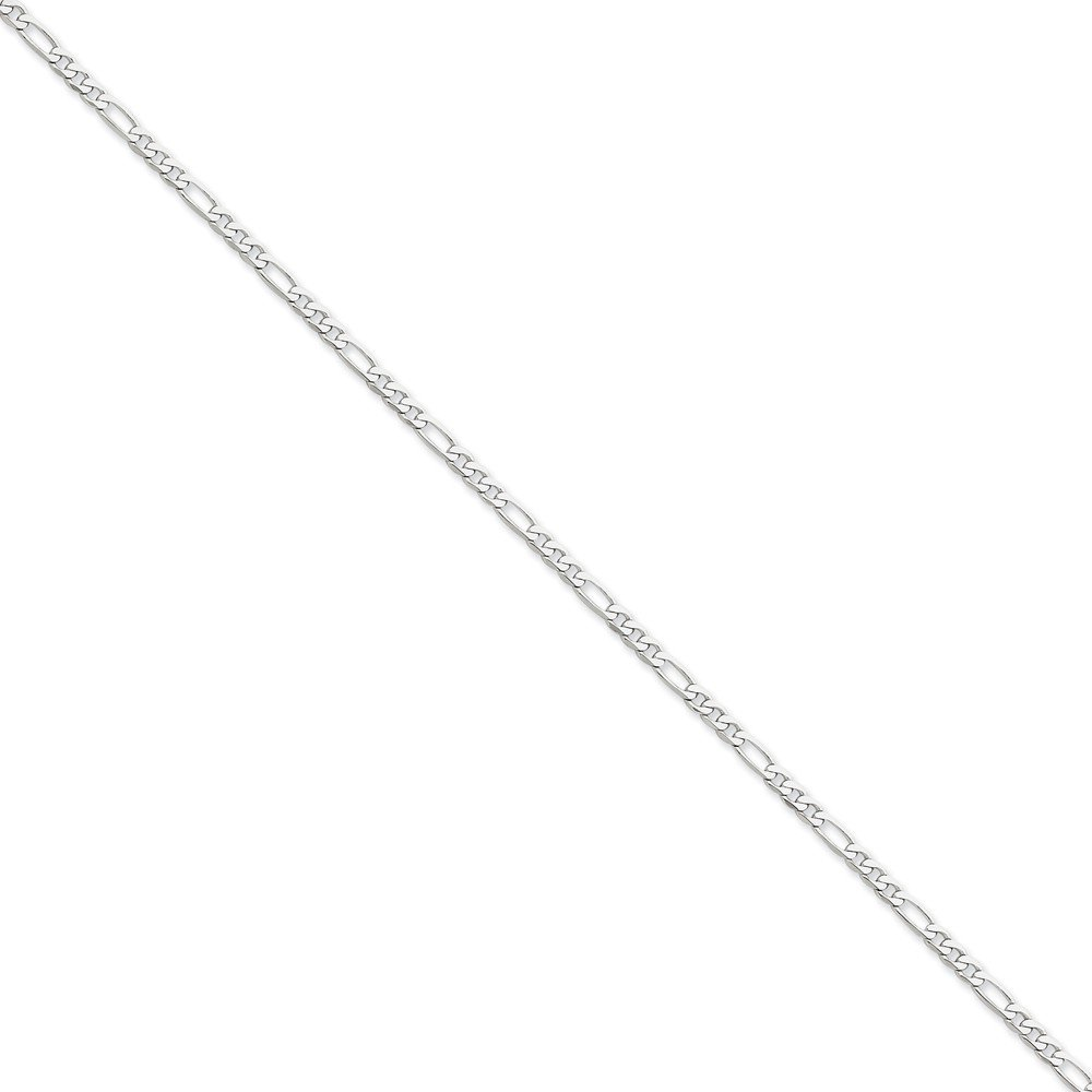with Secure Lobster Lock Clasp Jewel Tie 14k White Gold 3.0mm Flat Figaro Chain