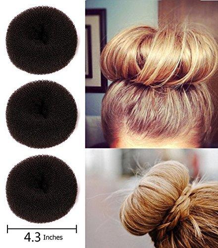 (Fireboomoon 3Pcs Extra-large Size Hair Donut Bun Ring Styler Maker)
