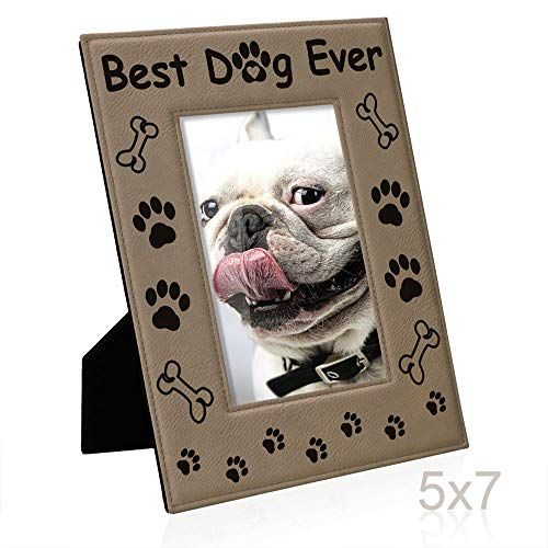 KATE POSH - Best Dog Ever Engraved Leather Picture Frame - Dog Lover Gifts, Dog Memorial Gifts, Birthday Gifts, Dog Paws and Bones Decor, Pet Memorial Gifts (5x7-Vertical) (Dog Picture Frame Vertical)