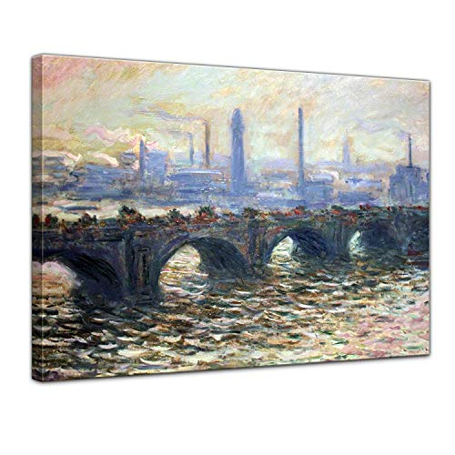 LVLUOYE Wall Art Canvas Decor - Canvas Wall Painting - Copy Famous Old Master Oil Painting - Hand Painted Mural - Living Room Stretched Canvas -Claude Monet The Waterloo Bridge,50x40cm Claude Monet Waterloo Bridge