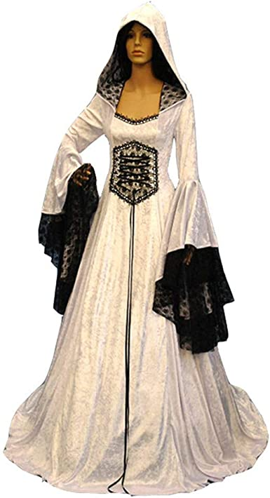 Women Victorian Renaissance Dress Witch Medieval Cosplay Off Shoulder Maxi Dress