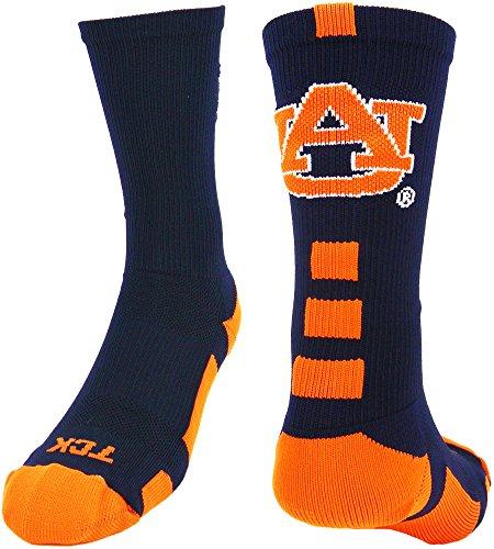 Auburn Baseline Crew Socks (Navy/Orange, Large) from TCK