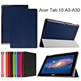 Acer Iconia Tab 10 A3-A30 Slim Shell Case,Mama Mouth Ultra Slim Lightweight 3-folding PU Leather Standing Cover For 10.1