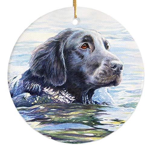 (Michael Steddum Flat Coated Retriever Swim Christmas Ornament)