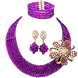 Nigerian Multicolor Crystal And Beads Jewelry Sets