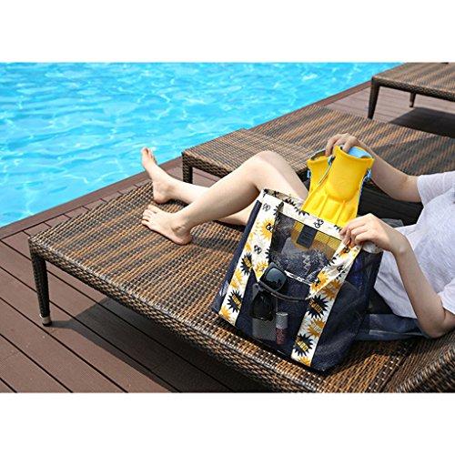 Mengonee Giro Spiaggia Di Spesa Floreale Ragazza A Nuoto Lavaggio Donne In Decorazione Giallo Storage Della Borse Mano Organizzatore Colore Borsa Tracolla Rete daX6xqwX