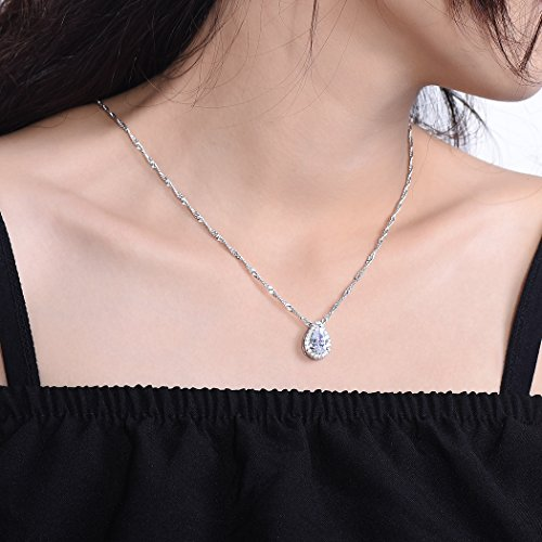 Pearl-shaped Briolette Cubic Zirconia Teardrop Pendant Necklace with Water Wave Chain, Platinum Plated Crystal Bridal/Wedding Necklace by Suplight (Image #1)