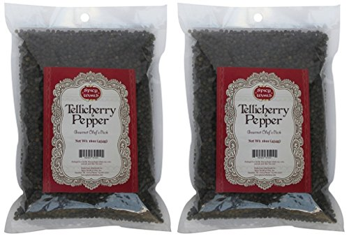 Spicy World Peppercorn (Whole)-Black Tellicherry, 16 Oz. bag, 2 Pack