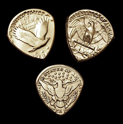 Set of 3 Antique Silver Quarter-Dollar Coin Guitar - Dollar Antique Coins