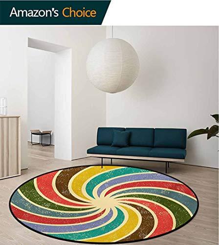 - RUGSMAT Groovy Small Round Rug Carpet,Abstract Aged Vintage Inspired Nostalgic Spiral Figures Infinite Circle Creative Art Door Mat Indoors Bathroom Mats Non Slip,Diameter-47 Inch