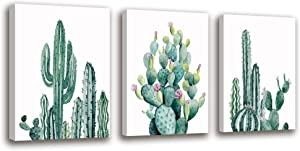 Canvas Wall Art Cactus Decor Bathroom Wall Decor Canvas Painting Office Decor - 3 Panels Framed Canvas Prints Fresh Tropical Plants Watercolor Giclee Home Decorations Bedroom Decor Gift