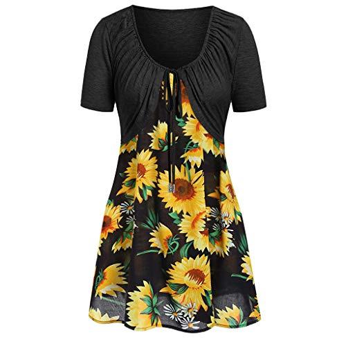 Women Summer Tops Women Knot Bandage Top Sunflower Print Vest Shirt Tank Blouse Tunic Suit 2019 (XL, Black - Black Print Type 160