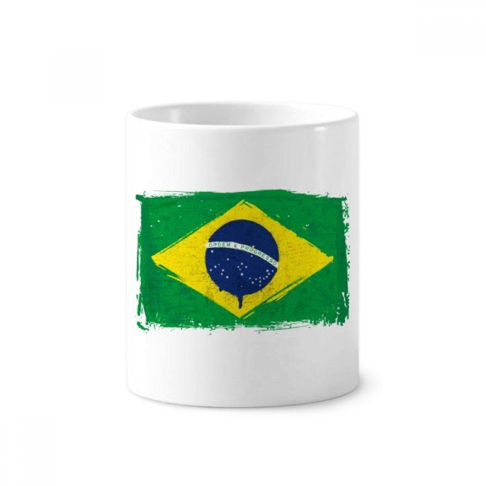 DIYthinker Pintado a mano la bandera de Brasil Brasil soporte de cerámica taza del cepillo de dientes de la pluma blanca Copa 350ml regalo 9,6 cm de alto x ...