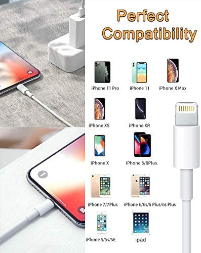 2 Pack MFi Certified iPhone Charger 6ft, iPhone Lightning to USB Cable 6 Foot, Fast iPhone Charging Cord for iPhone 11/11Pro/11Max/ X/XS/XR/XS Max/8/7/6/5S/SE