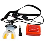 Surfing Diving Underwater Silicone Mouth Bite Mount Camera Mount Set with Buoyancy Block and Neck Lanyard for Gopro Hero 5 Session/Hero 4/3+ 3/2/1 Sj4000 Sj5000 Sj6000 Sj7000 Action Camera