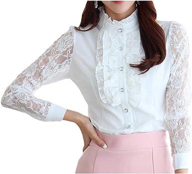 Mujer Slim Fit Camisa - Moda Manga Larga Blusa con Volantes Mujeres Color Sólido Primavera Otoño Camisetas Elegantes Casual Oficina Blusa Tallas Grandes Tops Blanco/Negro: Amazon.es: Ropa y accesorios