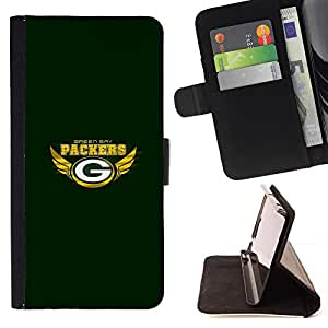 For Apple Iphone 6 Green Bay Packer Beautiful Print Wallet Leather Case Cover With Credit Card Slots And Stand Function