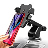 Surya Car Phone Holder, Long Neck Windshield Phone Holder Sticky Gel Pad Car Mount Compatible with iPhone and Android Devices (Black)