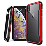 X-Doria Defense Shield Series, iPhone Xs Max - Military Grade Drop Tested, Anodized Aluminum, TPU, and Polycarbonate Protective Case for Apple iPhone Xs Max, 6.5 Inch Screen (Red)