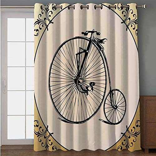 (iPrint Blackout Patio Door Curtain,Bicycle,Retro Big and Small Tired Bicycle on A Vintage Round Framed Floral Background Boho,Tan Cream,for Sliding & Patio Doors, 102
