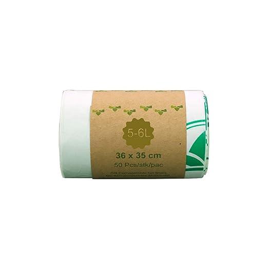 Bolsa de basura biodegradable 100 % IM ECOGREEN, 5-6 litros, 50 unidades, extragruesa, biodegradable y compostable, con certificado EN 13432