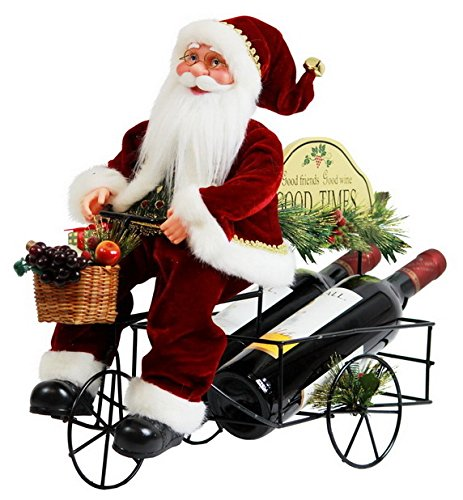 Windy Hill Collection 17 x 15 x 8.5 Inch Two Bottle Wine Rack Metal Tricycle Santa Claus Christmas Figurine Figure Decoration ()