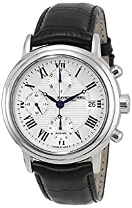 Raymond Weil Men's 7737-STC-00659 Maestro Stainless Steel Automatic Watch with Black Leather Band
